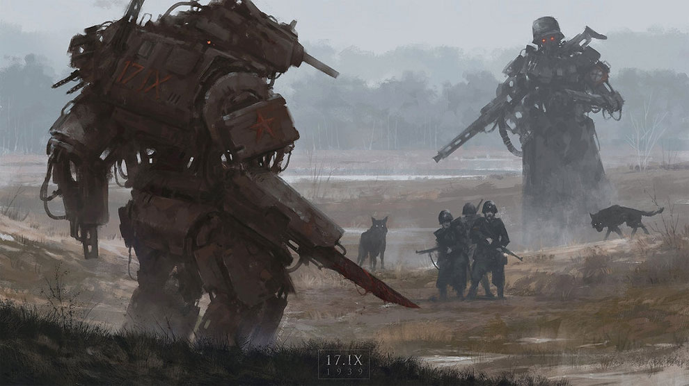Paintings of Steampunk Mechs and Werewolves in Eastern Europe